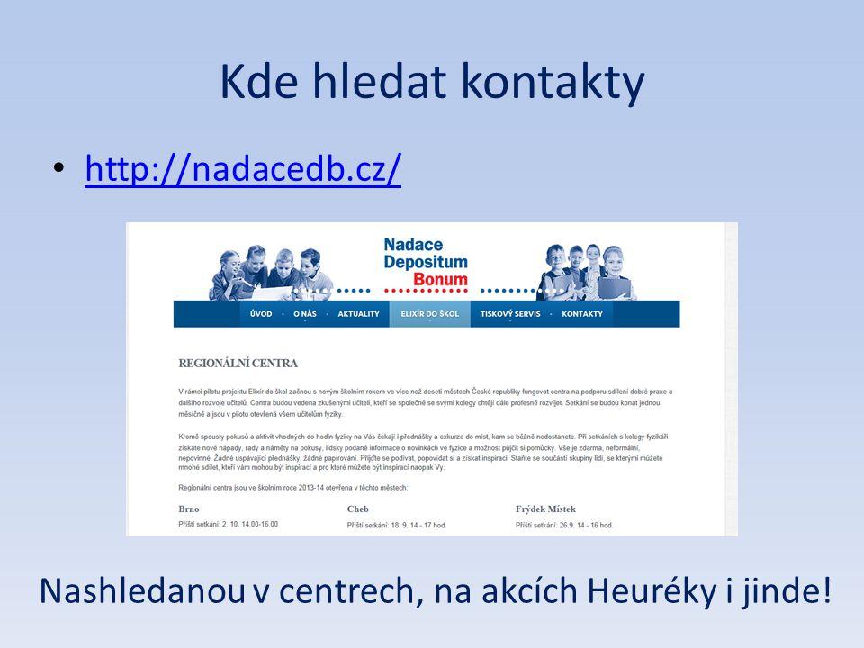 Kde hledat kontakty • http://nadacedb.cz/ http://nadacedb.cz/ Nashledanou v centrech, na akcích Heuréky i jinde!