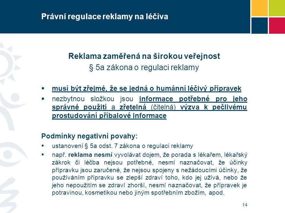 Právní regulace reklamy na léčiva Reklama zaměřená na širokou veřejnost § 5a zákona o regulaci reklamy  musí být zřejmé, že se jedná o humánní léčivý