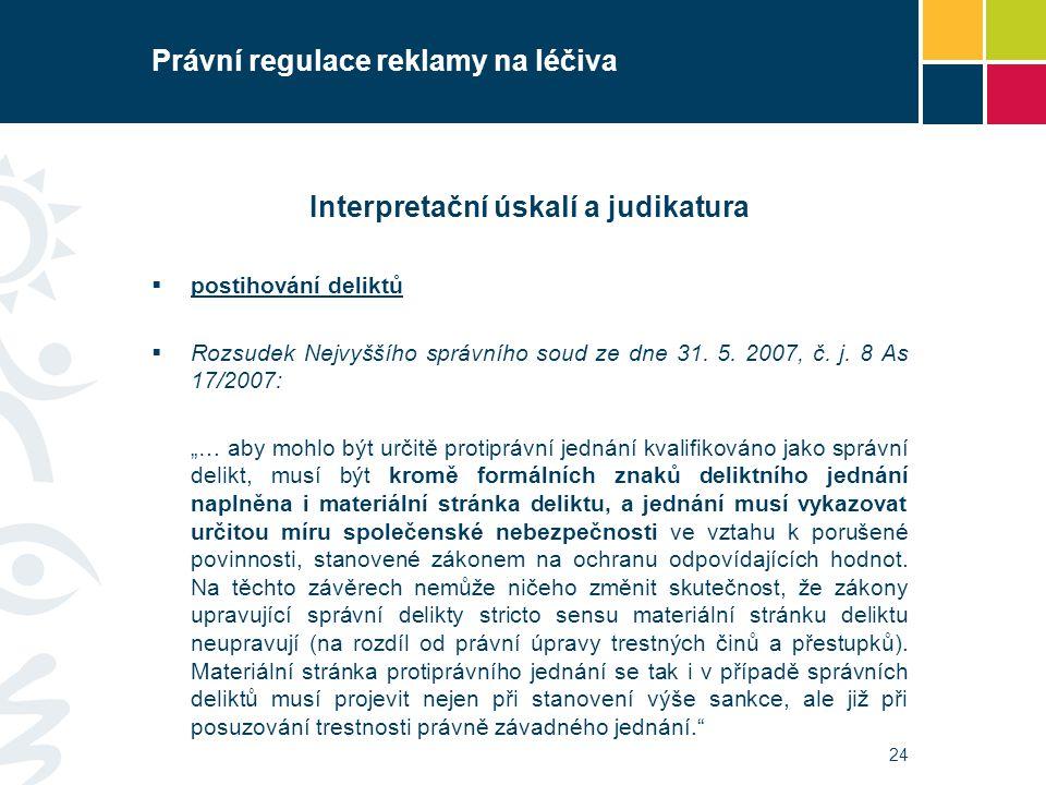 Právní regulace reklamy na léčiva Interpretační úskalí a judikatura  postihování deliktů  Rozsudek Nejvyššího správního soud ze dne 31. 5. 2007, č.