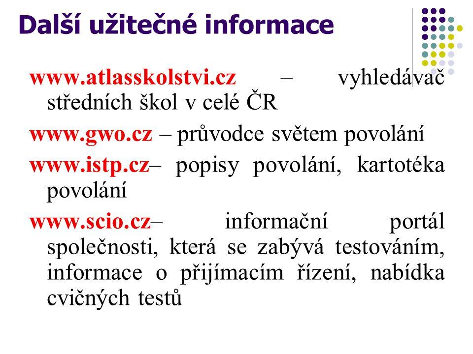 Další užitečné informace www.atlasskolstvi.cz – vyhledávač středních škol v celé ČR www.gwo.cz – průvodce světem povolání www.istp.cz– popisy povolání