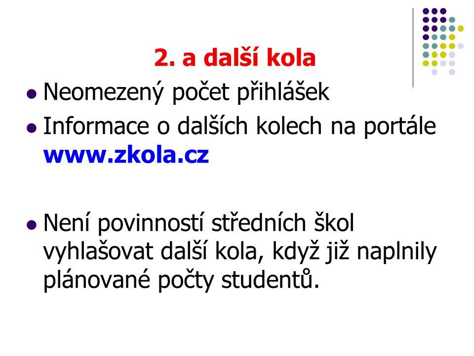 2. a další kola  Neomezený počet přihlášek  Informace o dalších kolech na portále www.zkola.cz  Není povinností středních škol vyhlašovat další kol