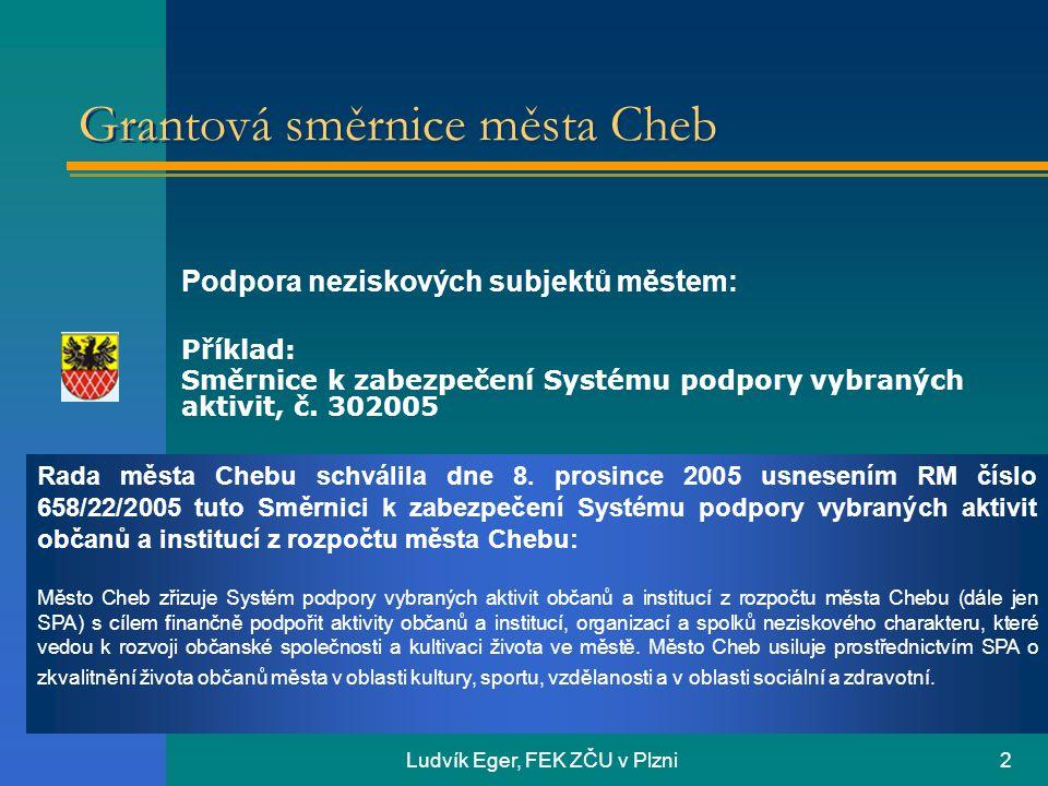 Ludvík Eger, FEK ZČU v Plzni2 Rada města Chebu schválila dne 8. prosince 2005 usnesením RM číslo 658/22/2005 tuto Směrnici k zabezpečení Systému podpo
