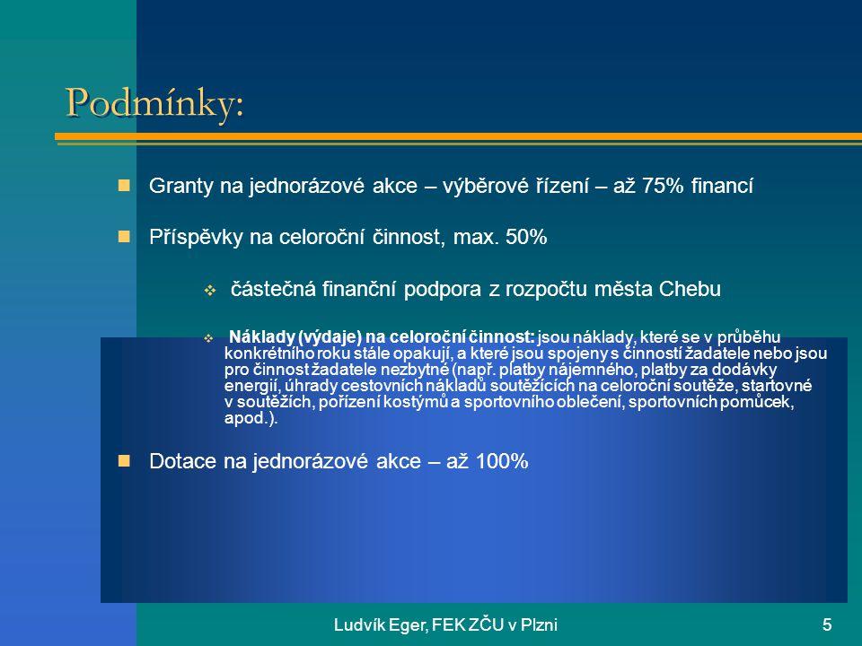 Ludvík Eger, FEK ZČU v Plzni5 Podmínky:  Granty na jednorázové akce – výběrové řízení – až 75% financí  Příspěvky na celoroční činnost, max. 50%  č
