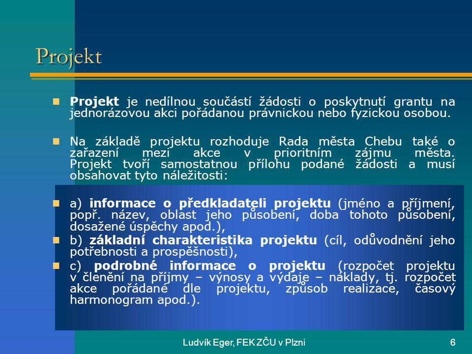 Ludvík Eger, FEK ZČU v Plzni6 Projekt  Projekt je nedílnou součástí žádosti o poskytnutí grantu na jednorázovou akci pořádanou právnickou nebo fyzickou osobou.