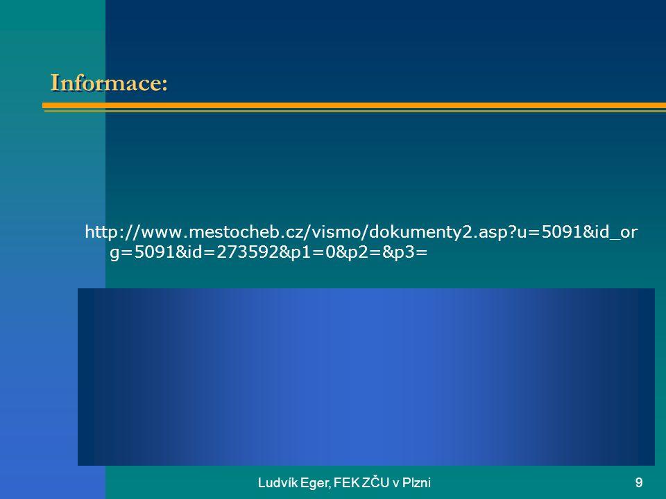 Ludvík Eger, FEK ZČU v Plzni9 Informace: http://www.mestocheb.cz/vismo/dokumenty2.asp?u=5091&id_or g=5091&id=273592&p1=0&p2=&p3=