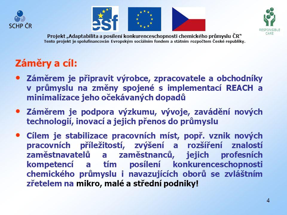 """4 RESPONSIBLE CARE Projekt """"Adaptabilita a posílení konkurenceschopnosti chemického průmyslu ČR Tento projekt je spolufinancován Evropským sociálním fondem a státním rozpočtem České republiky."""