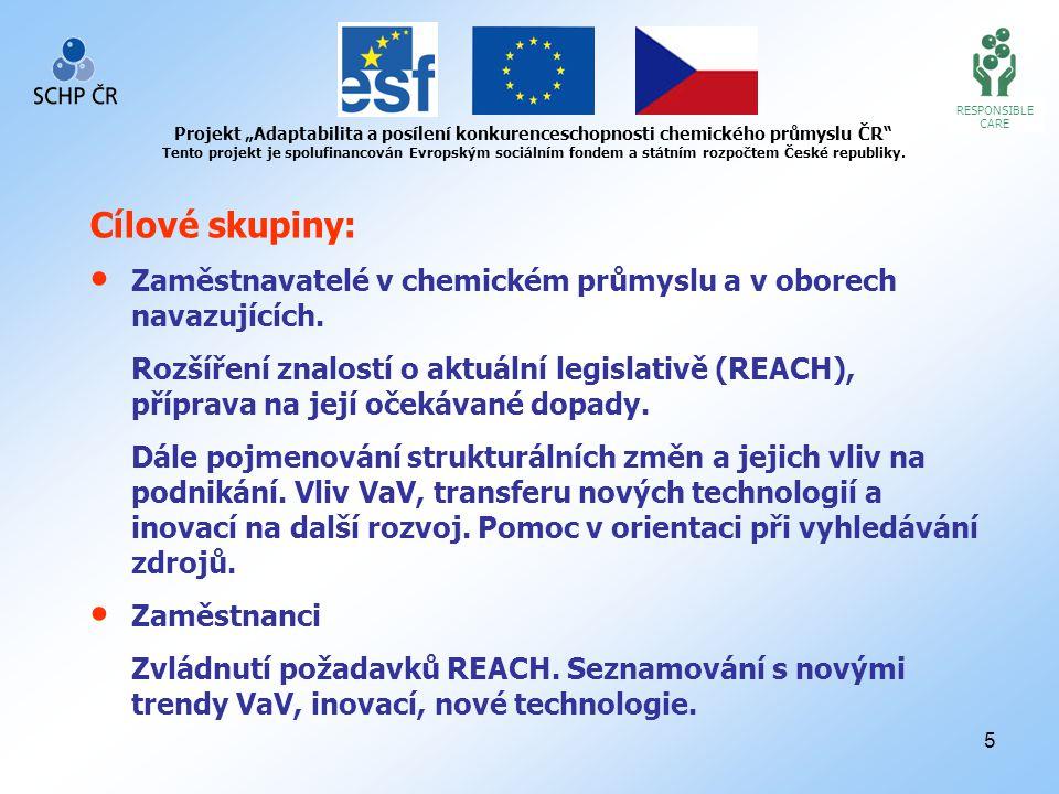 """6 RESPONSIBLE CARE Projekt """"Adaptabilita a posílení konkurenceschopnosti chemického průmyslu ČR Tento projekt je spolufinancován Evropským sociálním fondem a státním rozpočtem České republiky."""