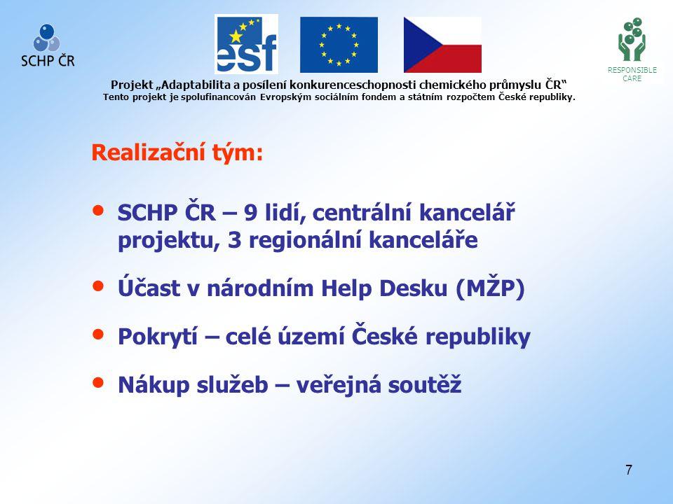 """8 RESPONSIBLE CARE Projekt """"Adaptabilita a posílení konkurenceschopnosti chemického průmyslu ČR Tento projekt je spolufinancován Evropským sociálním fondem a státním rozpočtem České republiky."""