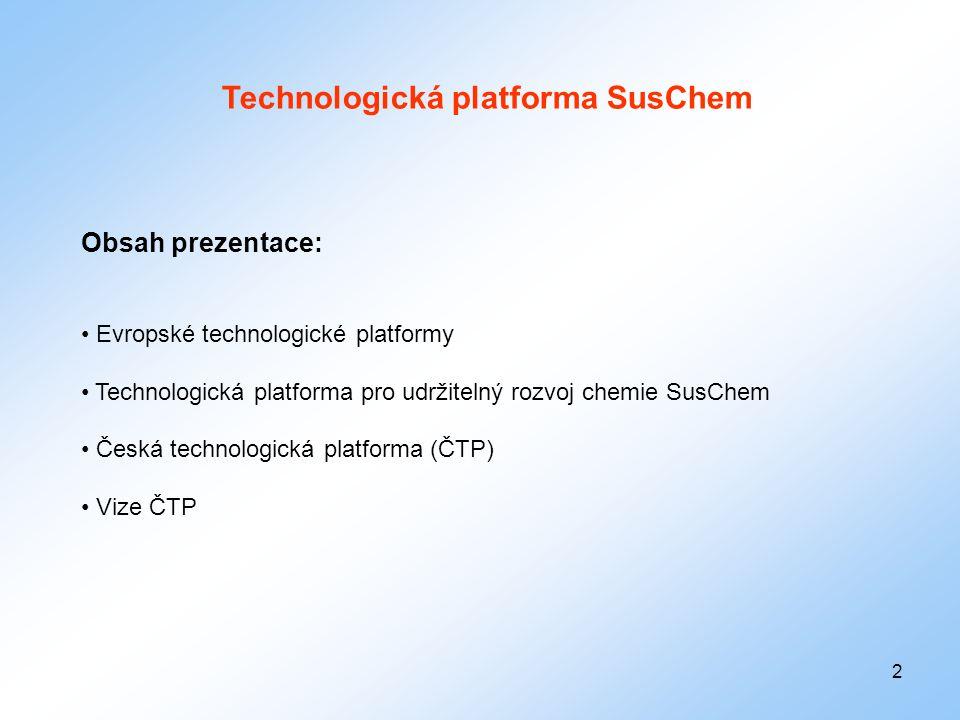 2 Technologická platforma SusChem Obsah prezentace: • Evropské technologické platformy • Technologická platforma pro udržitelný rozvoj chemie SusChem