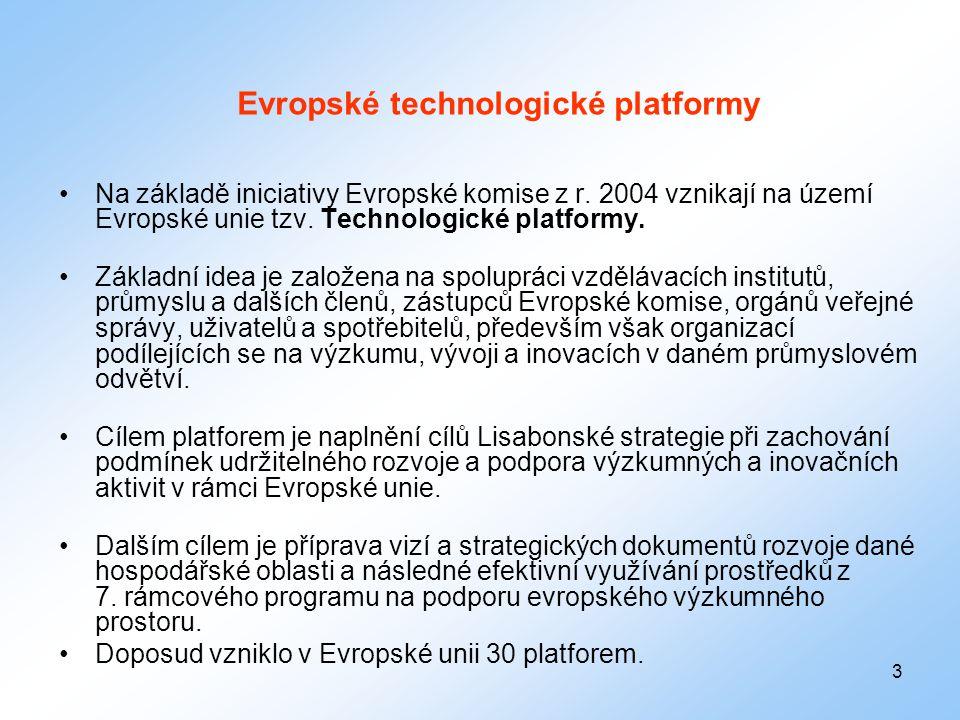3 Evropské technologické platformy •Na základě iniciativy Evropské komise z r. 2004 vznikají na území Evropské unie tzv. Technologické platformy. •Zák