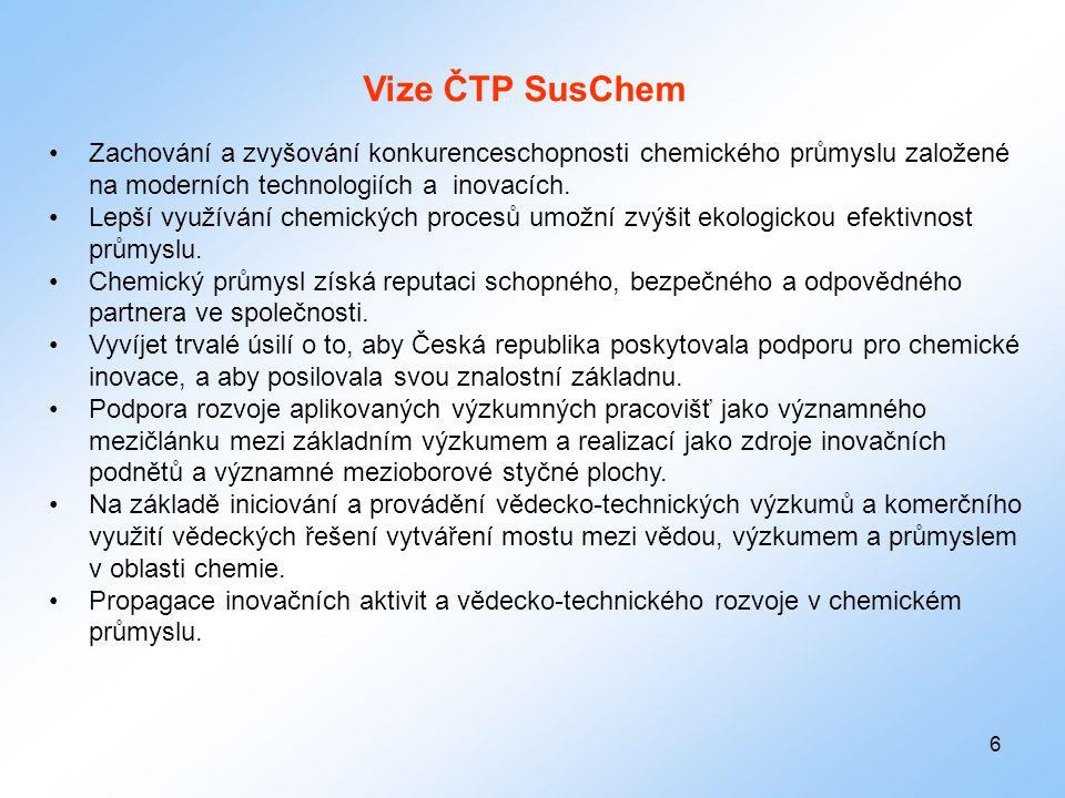 6 Vize ČTP SusChem •Zachování a zvyšování konkurenceschopnosti chemického průmyslu založené na moderních technologiích a inovacích. •Lepší využívání c