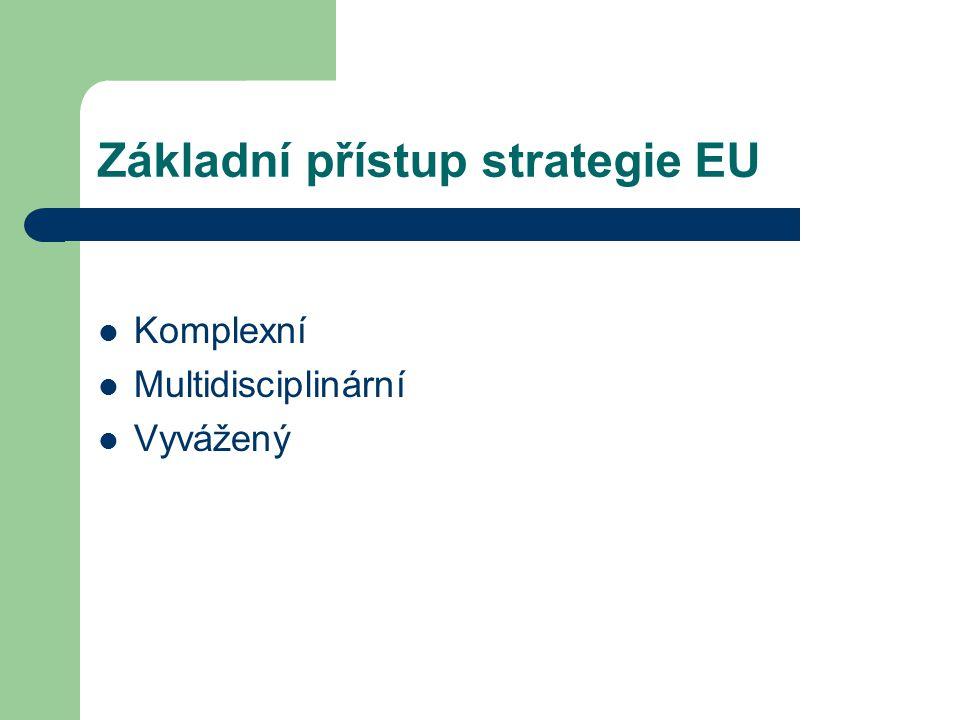Základní přístup strategie EU  Komplexní  Multidisciplinární  Vyvážený