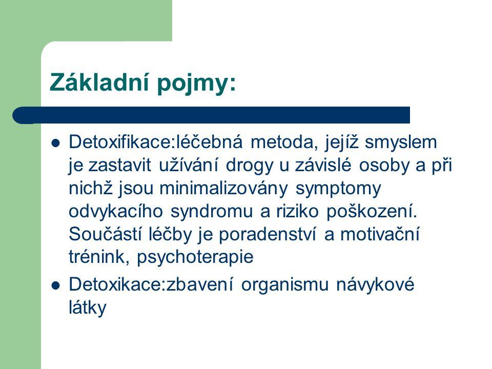Základní pojmy:  Detoxifikace:léčebná metoda, jejíž smyslem je zastavit užívání drogy u závislé osoby a při nichž jsou minimalizovány symptomy odvykacího syndromu a riziko poškození.