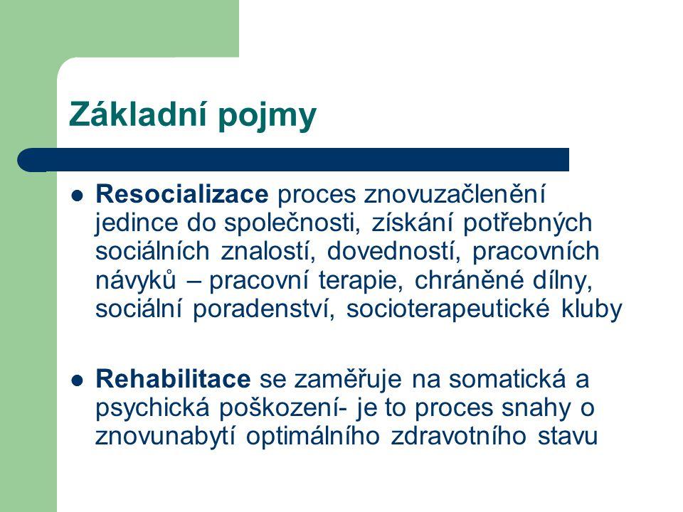 Základní pojmy  Resocializace proces znovuzačlenění jedince do společnosti, získání potřebných sociálních znalostí, dovedností, pracovních návyků – pracovní terapie, chráněné dílny, sociální poradenství, socioterapeutické kluby  Rehabilitace se zaměřuje na somatická a psychická poškození- je to proces snahy o znovunabytí optimálního zdravotního stavu