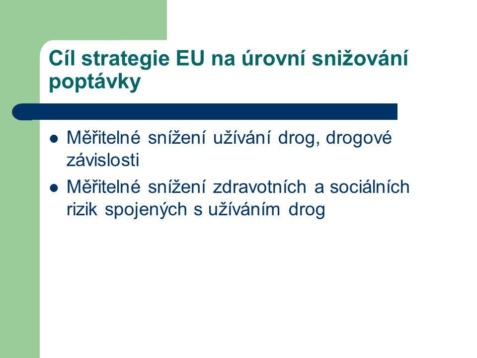 Cíl strategie EU na úrovní snižování poptávky  Měřitelné snížení užívání drog, drogové závislosti  Měřitelné snížení zdravotních a sociálních rizik spojených s užíváním drog