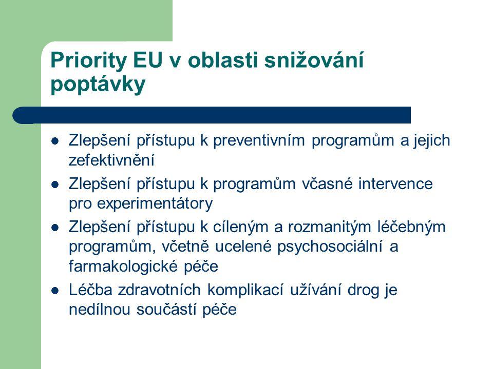 Priority EU v oblasti snižování poptávky  Zlepšení přístupu k preventivním programům a jejich zefektivnění  Zlepšení přístupu k programům včasné intervence pro experimentátory  Zlepšení přístupu k cíleným a rozmanitým léčebným programům, včetně ucelené psychosociální a farmakologické péče  Léčba zdravotních komplikací užívání drog je nedílnou součástí péče