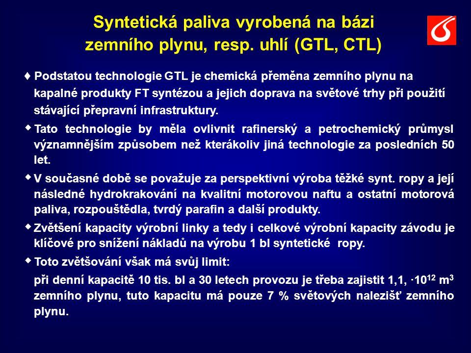 Syntetická paliva vyrobená na bázi zemního plynu, resp. uhlí (GTL, CTL) ♦ Podstatou technologie GTL je chemická přeměna zemního plynu na kapalné produ