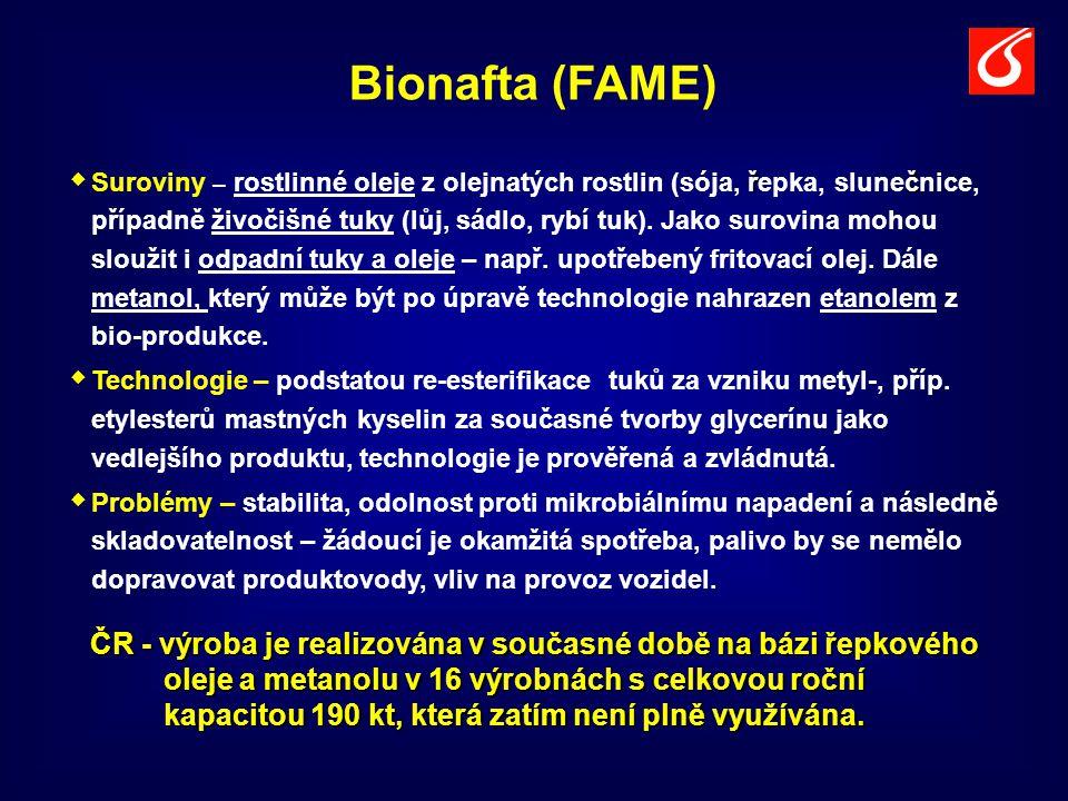 Bionafta (FAME)  řč  Suroviny – rostlinné oleje z olejnatých rostlin (sója, řepka, slunečnice, případně živočišné tuky (lůj, sádlo, rybí tuk). Jako