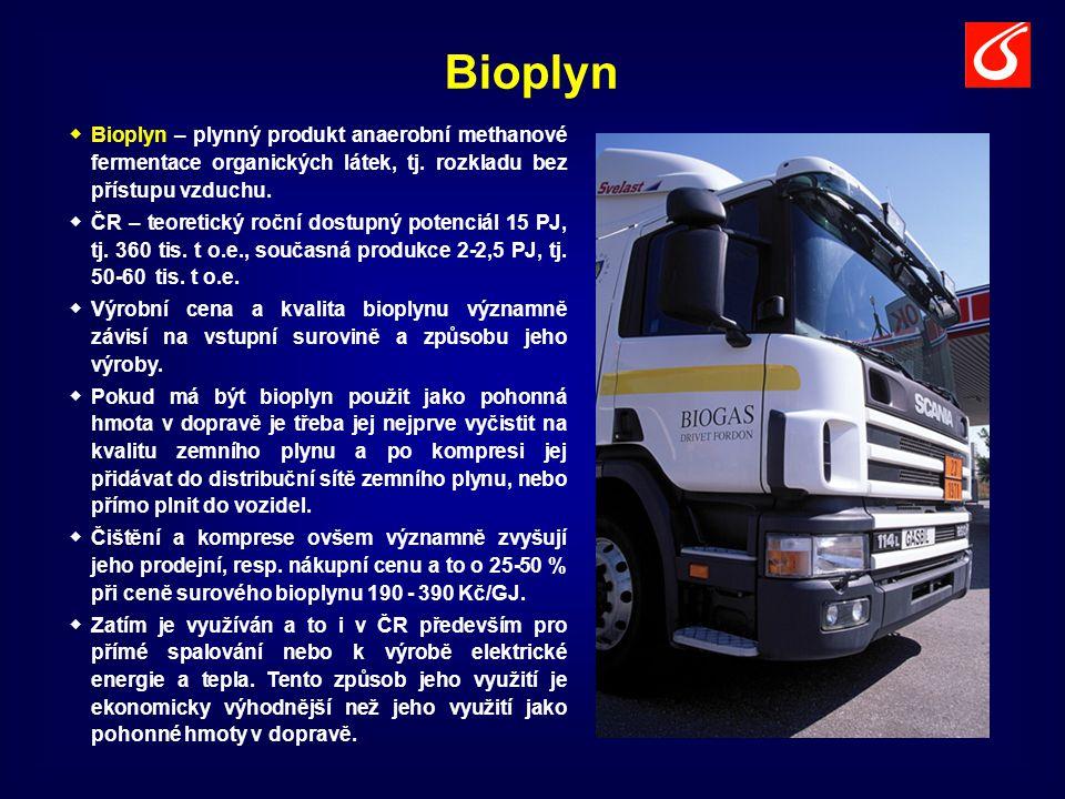 Bioplyn   Bioplyn – plynný produkt anaerobní methanové fermentace organických látek, tj. rozkladu bez přístupu vzduchu.   ČR – teoretický roční do
