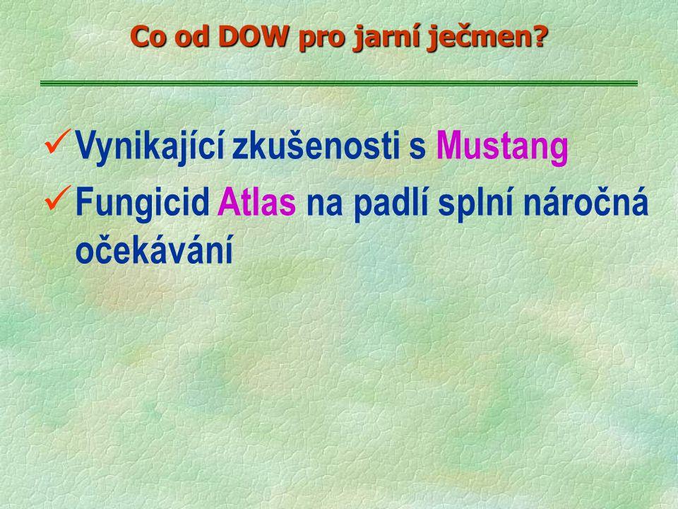 ü Vynikající zkušenosti s Mustang ü Fungicid Atlas na padlí splní náročná očekávání Co od DOW pro jarní ječmen?