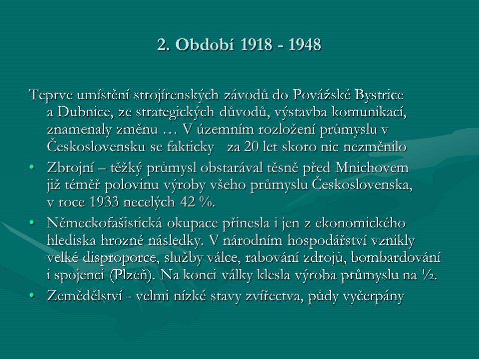 2. Období 1918 - 1948 Teprve umístění strojírenských závodů do Povážské Bystrice a Dubnice, ze strategických důvodů, výstavba komunikací, znamenaly zm