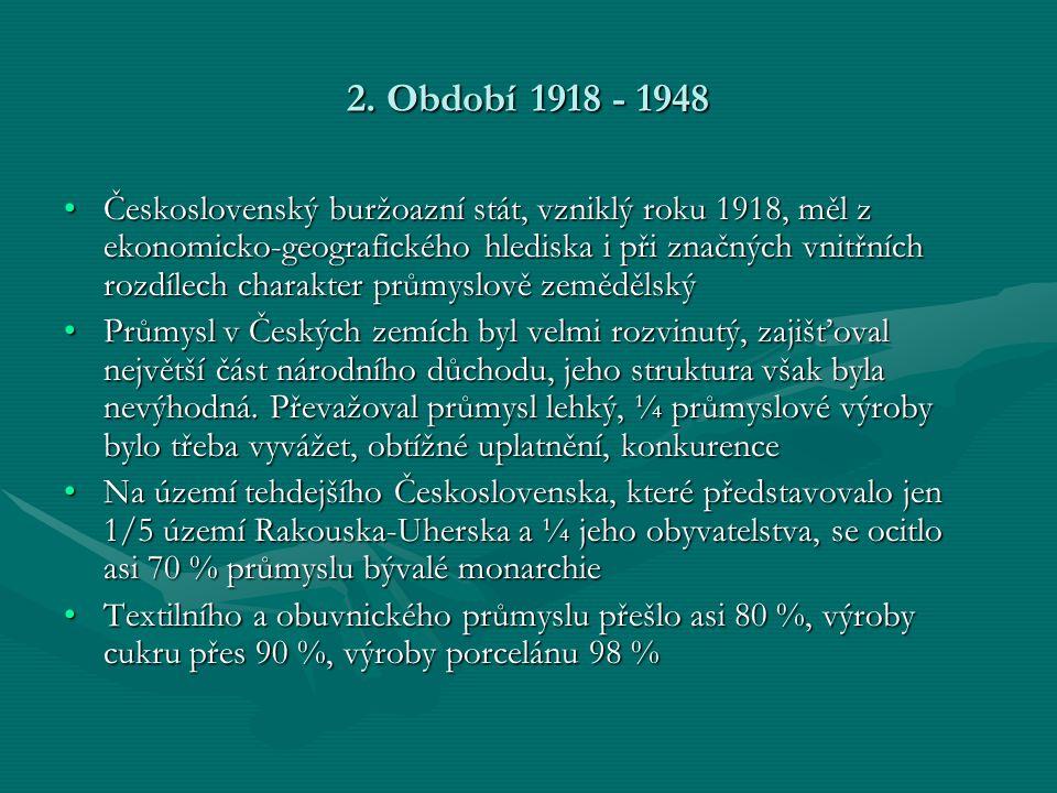 2. Období 1918 - 1948 •Československý buržoazní stát, vzniklý roku 1918, měl z ekonomicko-geografického hlediska i při značných vnitřních rozdílech ch