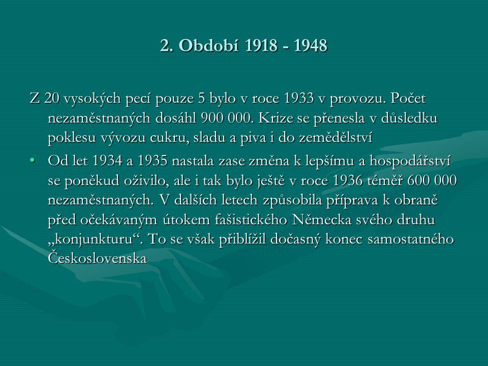 2.Období 1918 - 1948 Z 20 vysokých pecí pouze 5 bylo v roce 1933 v provozu.