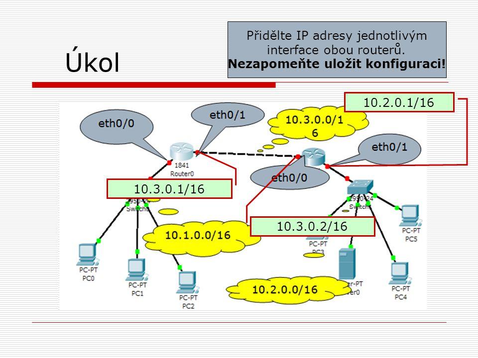 Úkol 10.3.0.1/16 10.3.0.2/16 10.2.0.1/16 Přidělte IP adresy jednotlivým interface obou routerů. Nezapomeňte uložit konfiguraci!