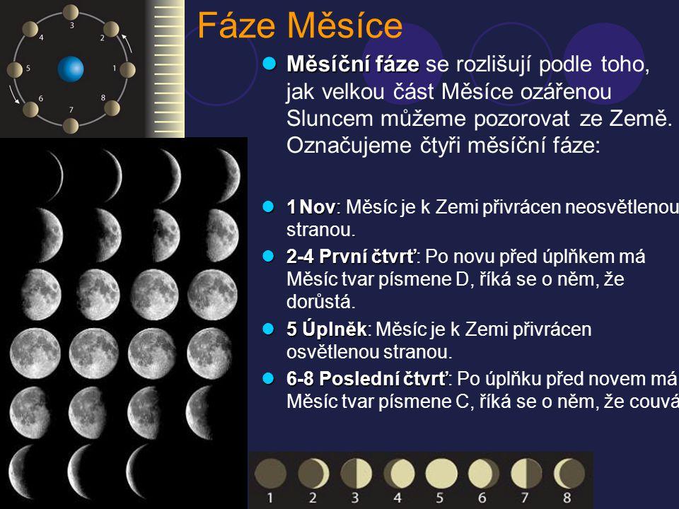 Fáze Měsíce MMMMěsíční fáze se rozlišují podle toho, jak velkou část Měsíce ozářenou Sluncem můžeme pozorovat ze Země. Označujeme čtyři měsíční fá