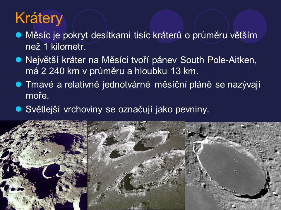 Krátery MMěsíc je pokryt desítkami tisíc kráterů o průměru větším než 1 kilometr. NNejvětší kráter na Měsíci tvoří pánev South Pole-Aitken, má 2 2