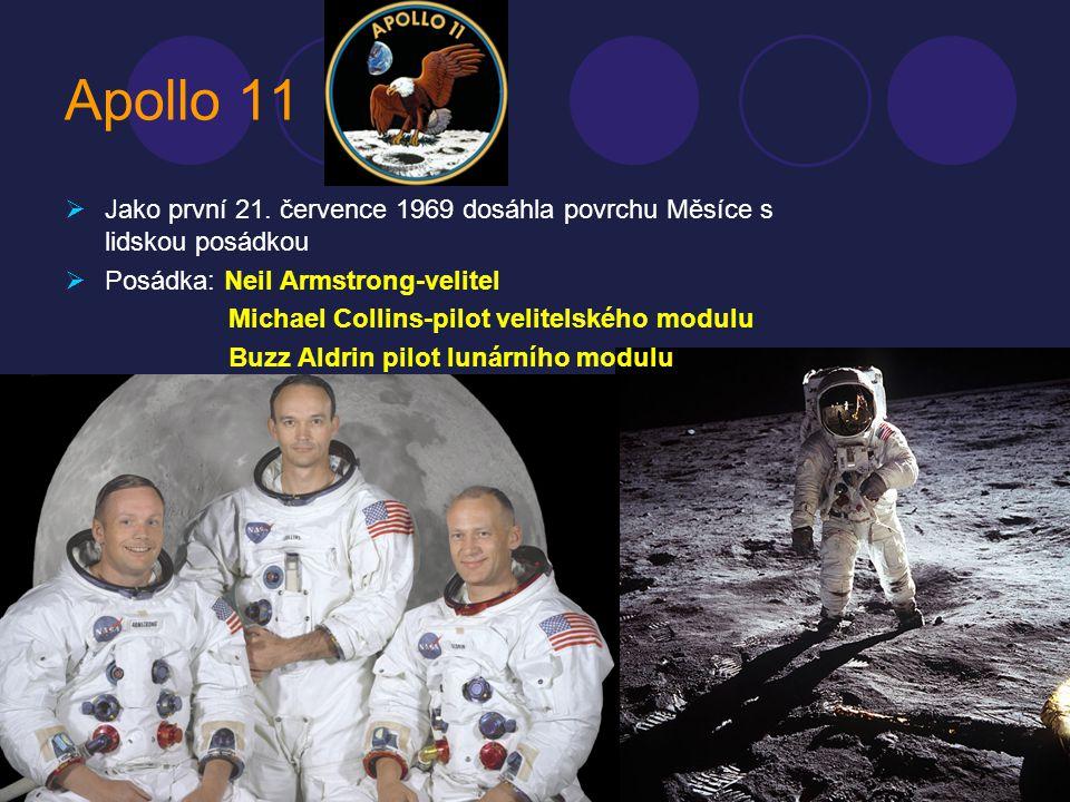 Apollo 11 JJako první 21. července 1969 dosáhla povrchu Měsíce s lidskou posádkou PPosádka: Neil Armstrong-velitel Michael Collins-pilot velitelsk