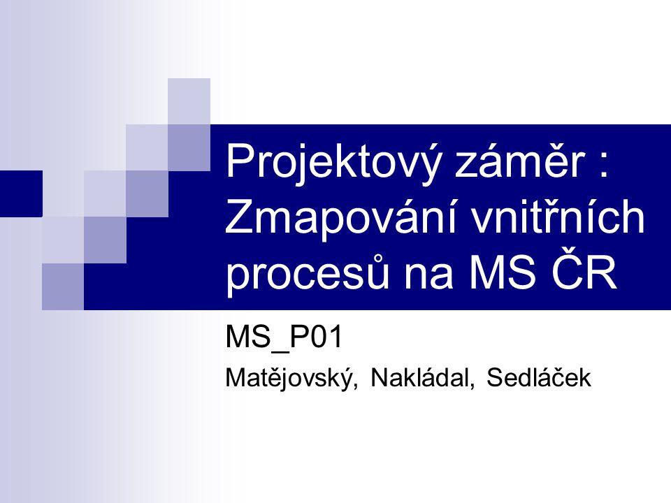 Projektový záměr : Zmapování vnitřních procesů na MS ČR MS_P01 Matějovský, Nakládal, Sedláček