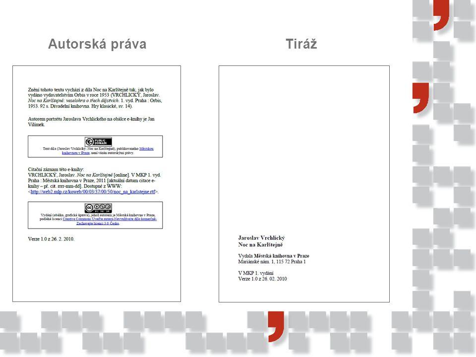 Autorská práva Tiráž