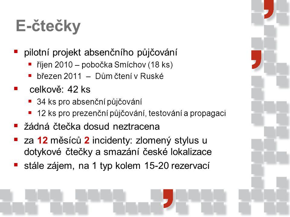  pilotní projekt absenčního půjčování  říjen 2010 – pobočka Smíchov (18 ks)  březen 2011 – Dům čtení v Ruské  celkově: 42 ks  34 ks pro absenční půjčování  12 ks pro prezenční půjčování, testování a propagaci  žádná čtečka dosud neztracena  za 12 měsíců 2 incidenty: zlomený stylus u dotykové čtečky a smazání české lokalizace  stále zájem, na 1 typ kolem 15-20 rezervací E-čtečky