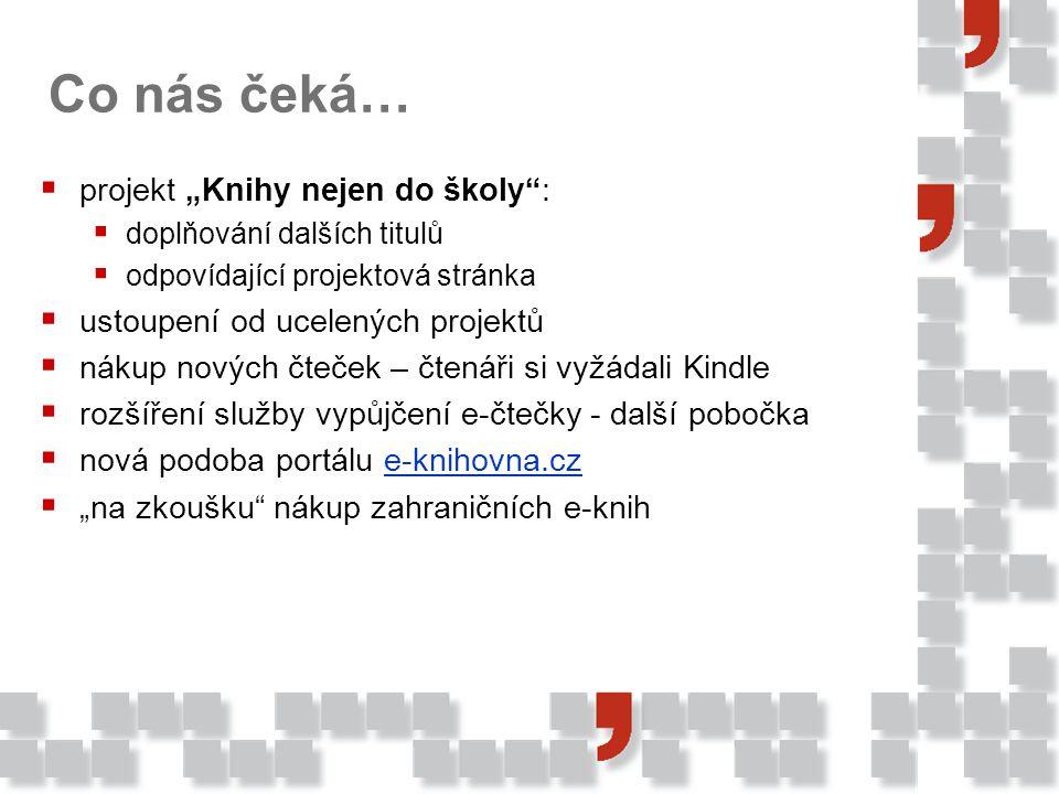 """Co nás čeká…  projekt """"Knihy nejen do školy :  doplňování dalších titulů  odpovídající projektová stránka  ustoupení od ucelených projektů  nákup nových čteček – čtenáři si vyžádali Kindle  rozšíření služby vypůjčení e-čtečky - další pobočka  nová podoba portálu e-knihovna.cze-knihovna.cz  """"na zkoušku nákup zahraničních e-knih"""