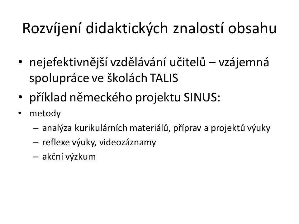 Rozvíjení didaktických znalostí obsahu • nejefektivnější vzdělávání učitelů – vzájemná spolupráce ve školách TALIS • příklad německého projektu SINUS: • metody – analýza kurikulárních materiálů, příprav a projektů výuky – reflexe výuky, videozáznamy – akční výzkum