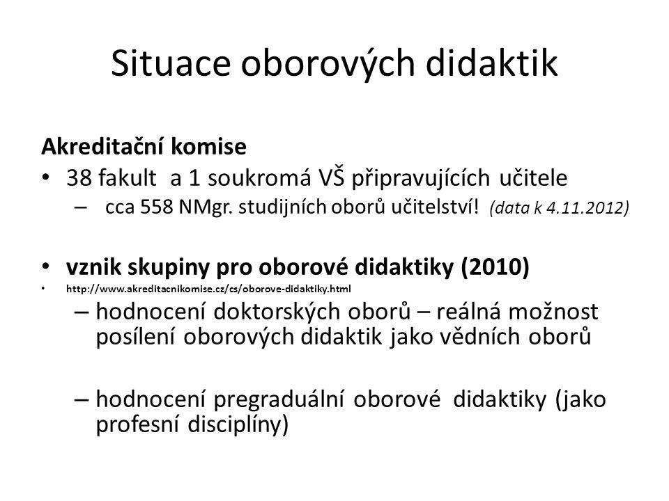 Situace oborových didaktik Akreditační komise • 38 fakult a 1 soukromá VŠ připravujících učitele – cca 558 NMgr.