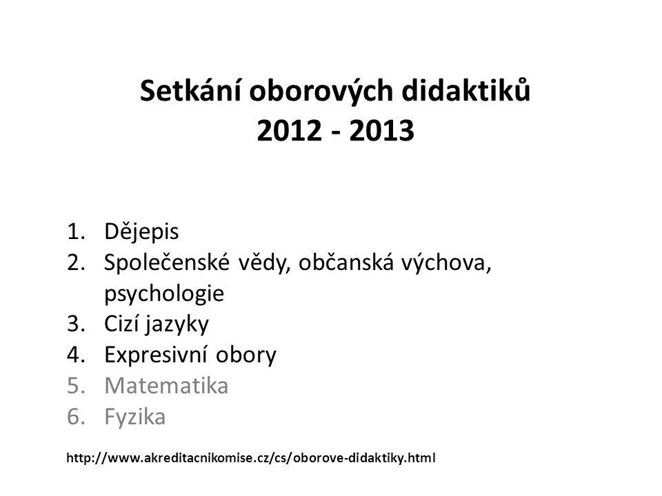 Setkání oborových didaktiků 2012 - 2013 1.Dějepis 2.Společenské vědy, občanská výchova, psychologie 3.Cizí jazyky 4.Expresivní obory 5.Matematika 6.Fy