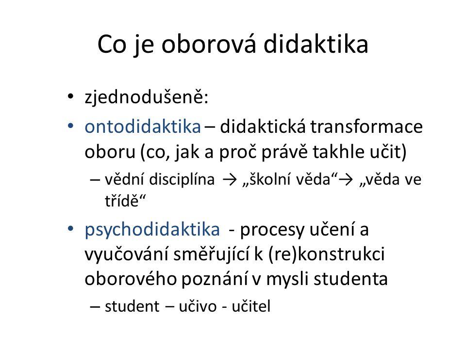 """Co je oborová didaktika • zjednodušeně: • ontodidaktika – didaktická transformace oboru (co, jak a proč právě takhle učit) – vědní disciplína → """"školn"""