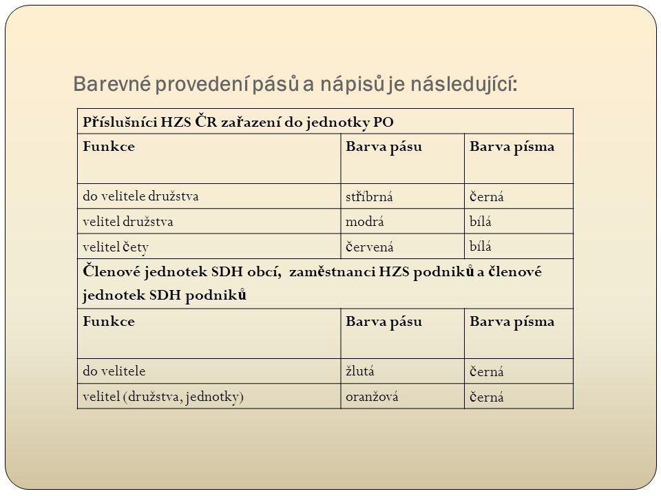 Barevné provedení pásů a nápisů je následující: P ř íslušníci HZS Č R za ř azení do jednotky PO FunkceBarva pásuBarva písma do velitele družstvast ř í