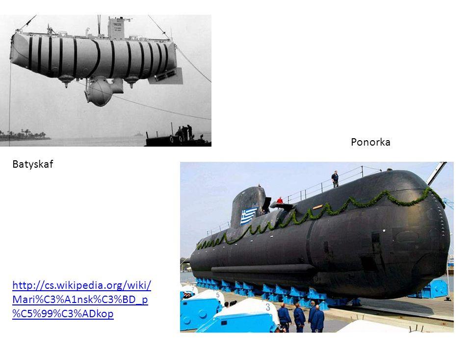 Batyskaf Ponorka http://cs.wikipedia.org/wiki/ Mari%C3%A1nsk%C3%BD_p %C5%99%C3%ADkop