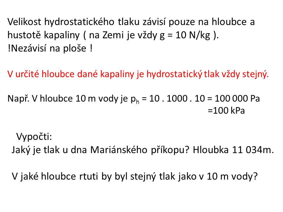 Velikost hydrostatického tlaku závisí pouze na hloubce a hustotě kapaliny ( na Zemi je vždy g = 10 N/kg ). !Nezávisí na ploše ! V určité hloubce dané