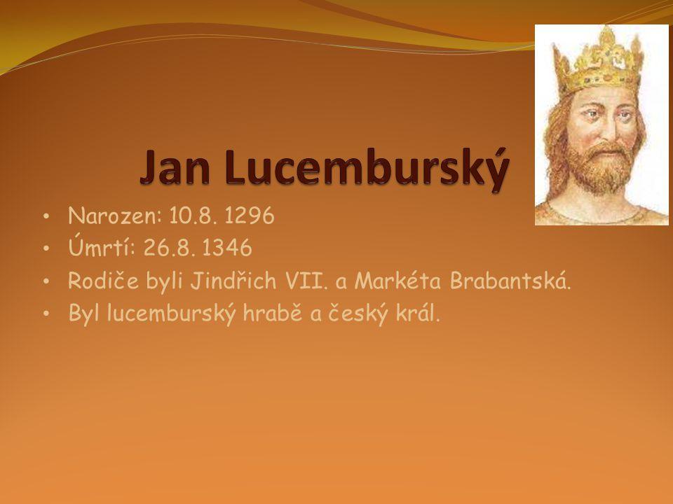 • Narozen: 10.8. 1296 • Úmrtí: 26.8. 1346 • Rodiče byli Jindřich VII. a Markéta Brabantská. • Byl lucemburský hrabě a český král.