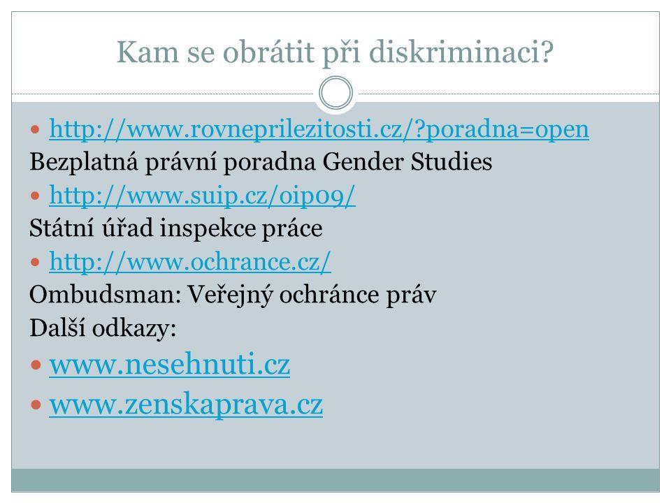 Kam se obrátit při diskriminaci?  http://www.rovneprilezitosti.cz/?poradna=open http://www.rovneprilezitosti.cz/?poradna=open Bezplatná právní poradn