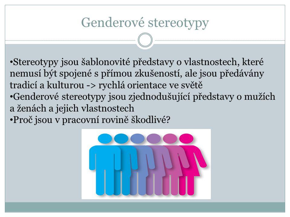 Genderové stereotypy • Stereotypy jsou šablonovité představy o vlastnostech, které nemusí být spojené s přímou zkušeností, ale jsou předávány tradicí