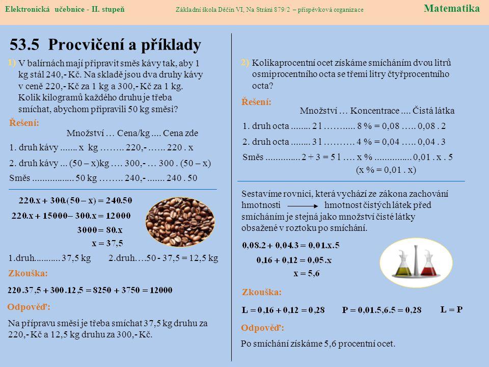 Elektronická učebnice – II. stupeň Matematika Základní škola Děčín VI, Na Stráni 879/2 – příspěvková organizace 53.5 Procvičení a příklady Elektronick
