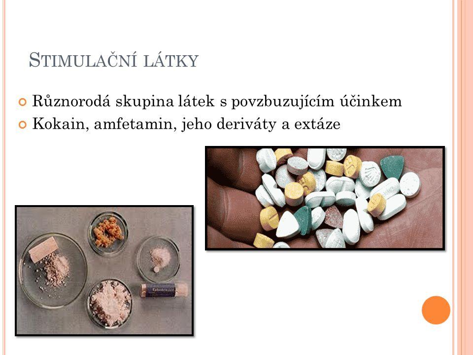 S TIMULAČNÍ LÁTKY Různorodá skupina látek s povzbuzujícím účinkem Kokain, amfetamin, jeho deriváty a extáze