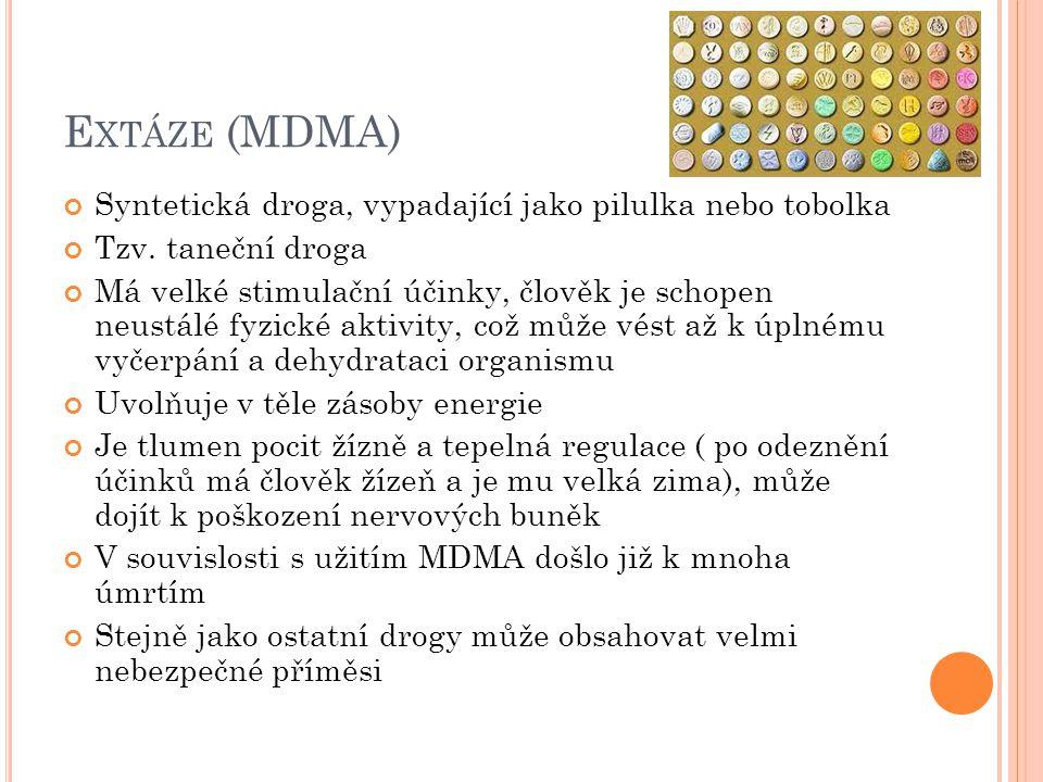 E XTÁZE (MDMA) Syntetická droga, vypadající jako pilulka nebo tobolka Tzv.