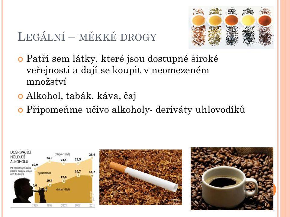 L EGÁLNÍ – MĚKKÉ DROGY Patří sem látky, které jsou dostupné široké veřejnosti a dají se koupit v neomezeném množství Alkohol, tabák, káva, čaj Připomeňme učivo alkoholy- deriváty uhlovodíků