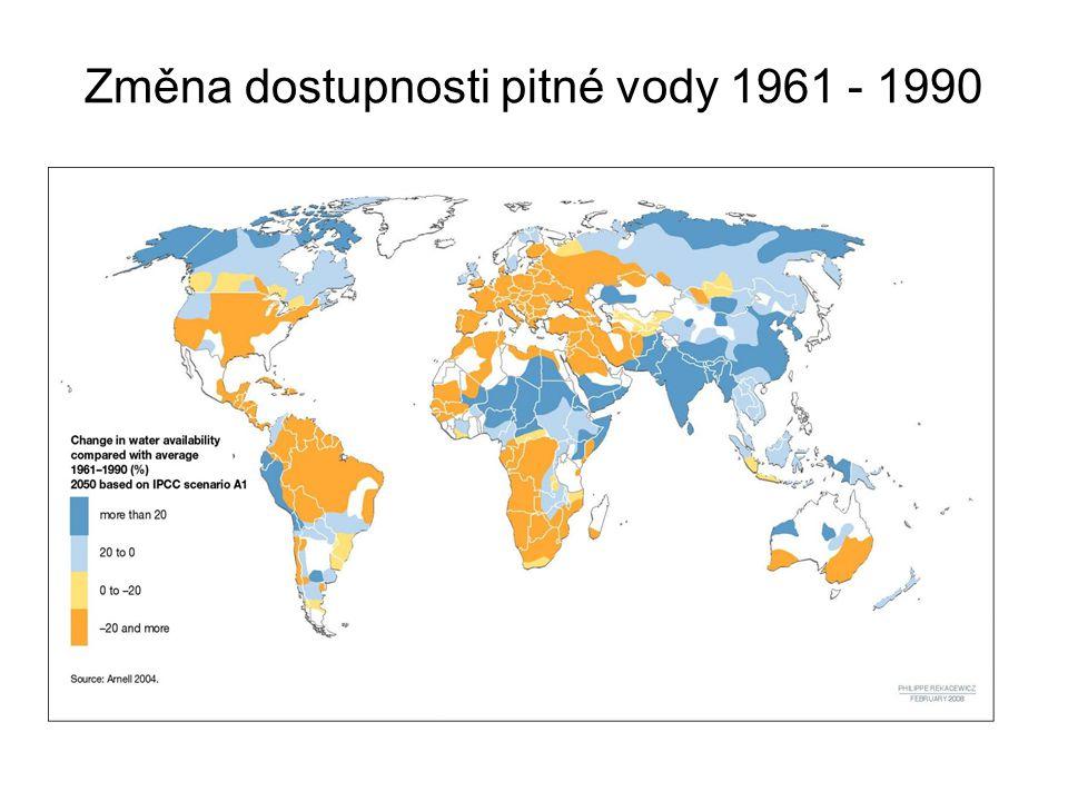 Změna dostupnosti pitné vody 1961 - 1990